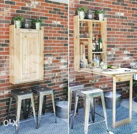 Indoor and outdoor wood Wall table desk طا...