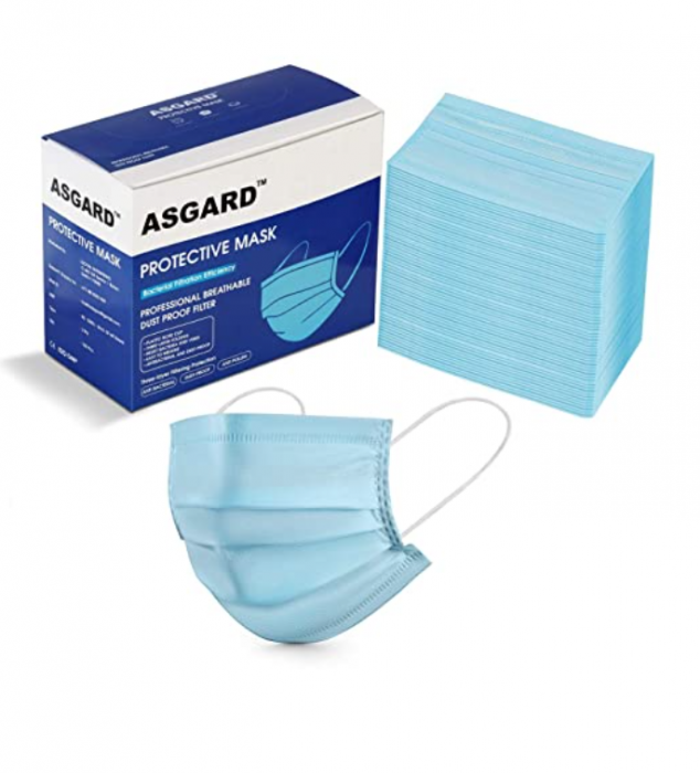 ASGARD ® Certified by CE, ISO and GMP- 3 Layer Non Woven Fabric Protective Face Mask with NOSE CLIP- BOX SEALED PACKAGING (Blue, Pack of 50)